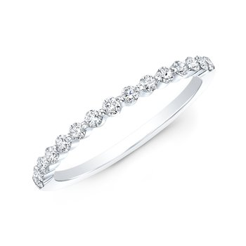 White Gold Shared Single Prong Wedding Band