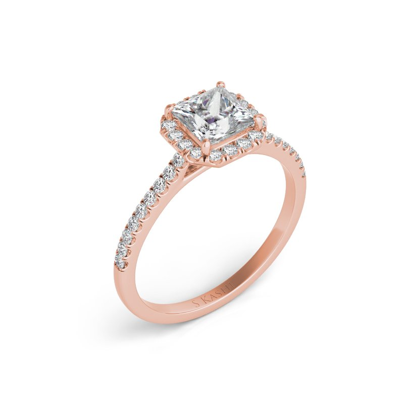S. Kashi  & Sons Rose Gold Halo Engagement Ring
