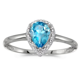 14k White Gold Pear Blue Topaz And Diamond Ring