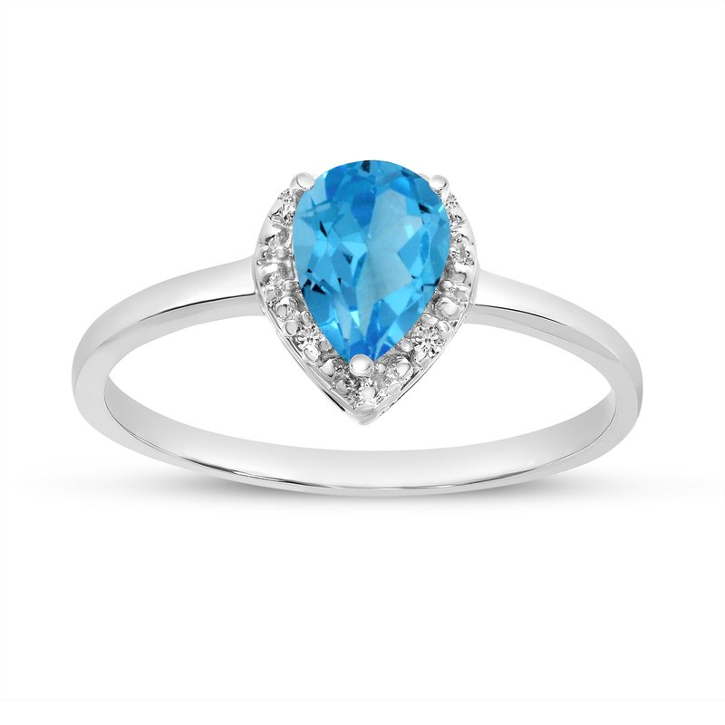 Color Merchants 14k White Gold Pear Blue Topaz And Diamond Ring