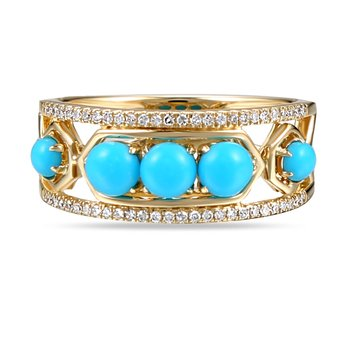14K doublet Turquoise ring 54 Diamonds 0.16C