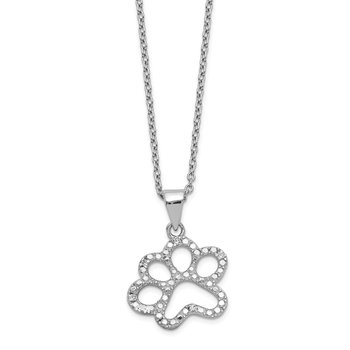 Cheryl M Sterling Silver Rhodium-plated CZ Paw 18.25in Necklace