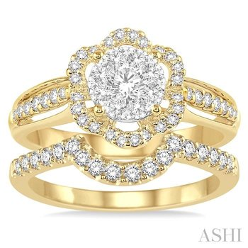 flower shape lovebright bridal diamond wedding set