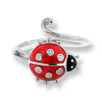 Sterling Silver Ladybug Ring-Red.  Diamonds.