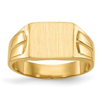 14k 7.5x9.0mm Closed Back Signet Ring
