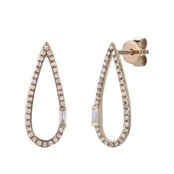 Tear drop diamond 14K gold earrings T.W 0.22CT
