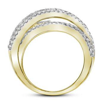 14kt Yellow Gold Womens Round Pave-set Diamond Crossover Cocktail Band 2-1/3 Cttw