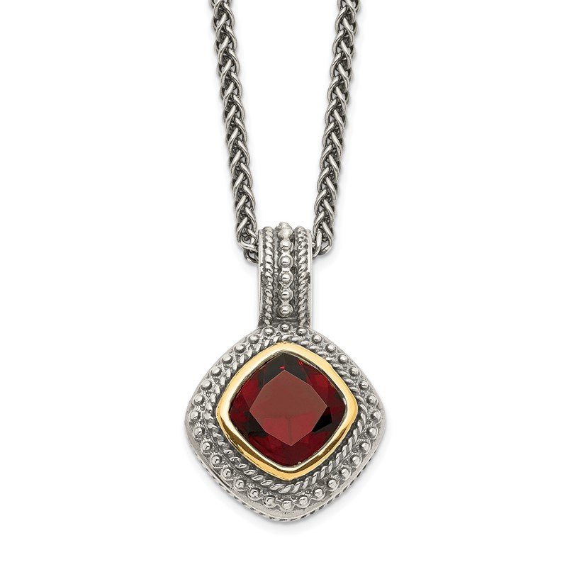 Quality Gold Sterling Silver w/14k Garnet Necklace