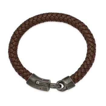 Stainless Steel Antique Grey-plated Brown Leather 8.25in Bracelet