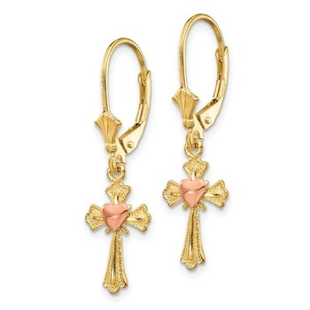 14K Two-tone Heart on Cross Leverback Earrings