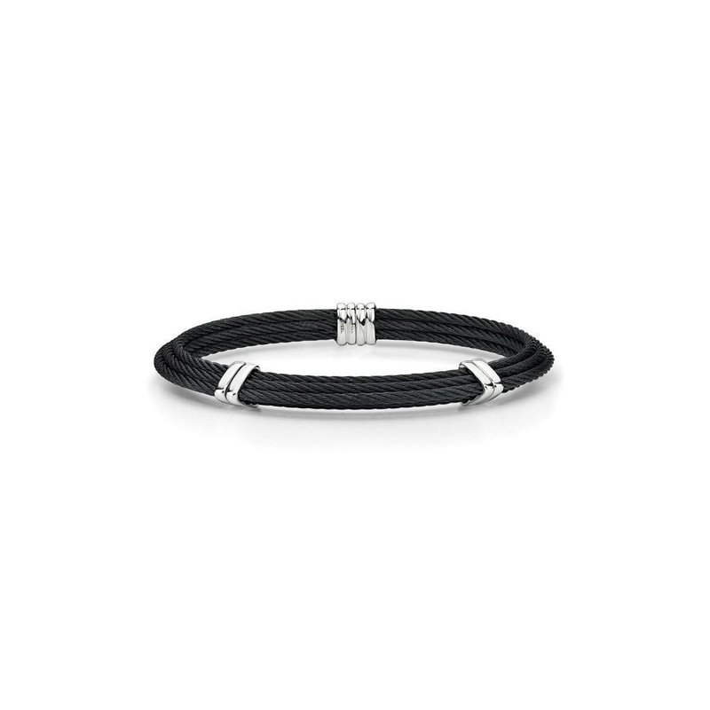 ALOR Black Cable Tiered Bracelet with Dual Steel Stations