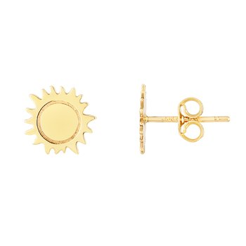 14K Gold Polished Sun Stud Earring