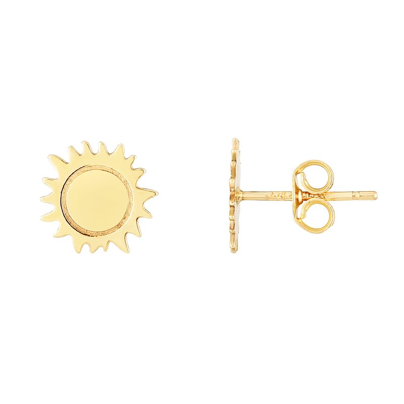 Royal Chain 14K Gold Polished Sun Stud Earring