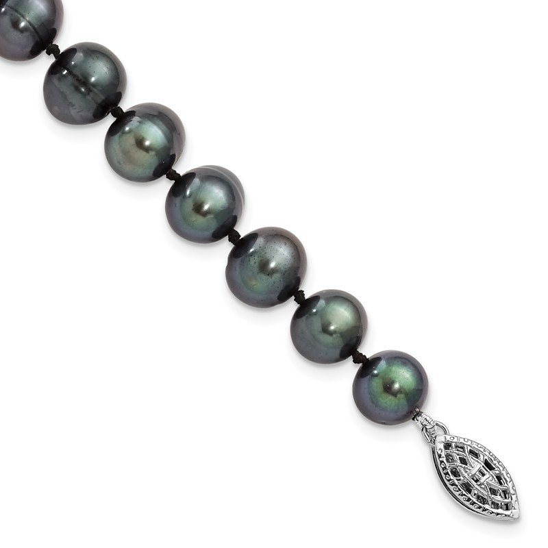 Quality Gold Sterling Silver Rhod-plated 8-9mm Black FWC Pearl Necklace