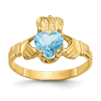 14k December CZ Birthstone Claddagh Ring