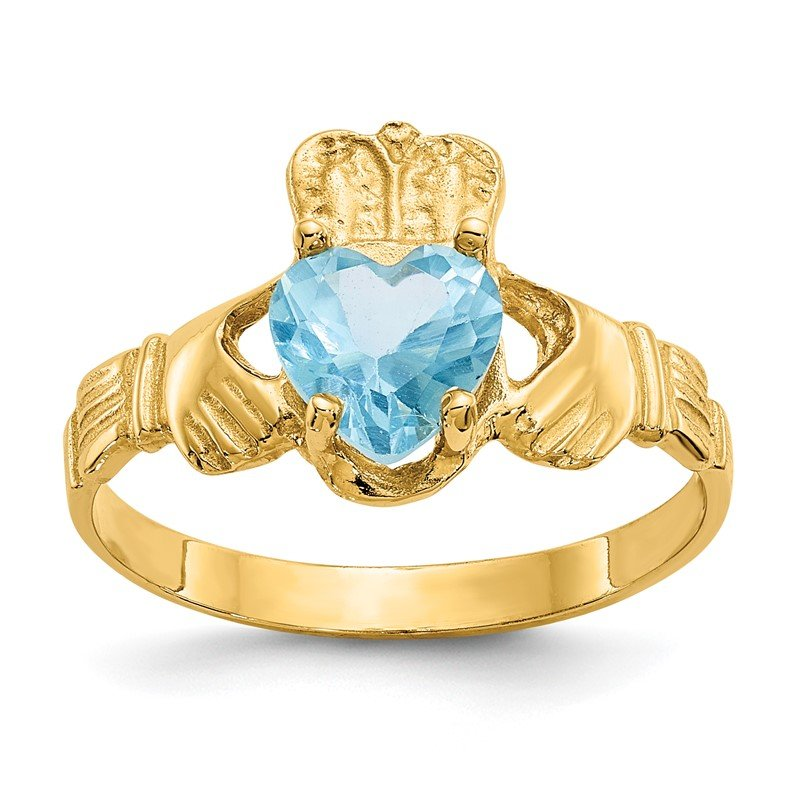Quality Gold 14k December CZ Birthstone Claddagh Ring