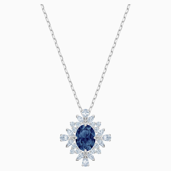 Palace Necklace, Blue, Rhodium plated