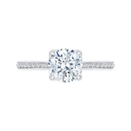 Carizza Round Diamond Cathedral Style Engagement Ring In 14K White Gold (Semi-Mount)