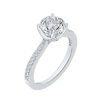 Round Diamond Cathedral Style Engagement Ring In 14K White Gold (Semi-Mount)