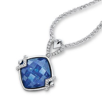 Sterling silver, lapis fusion and diamond pendant