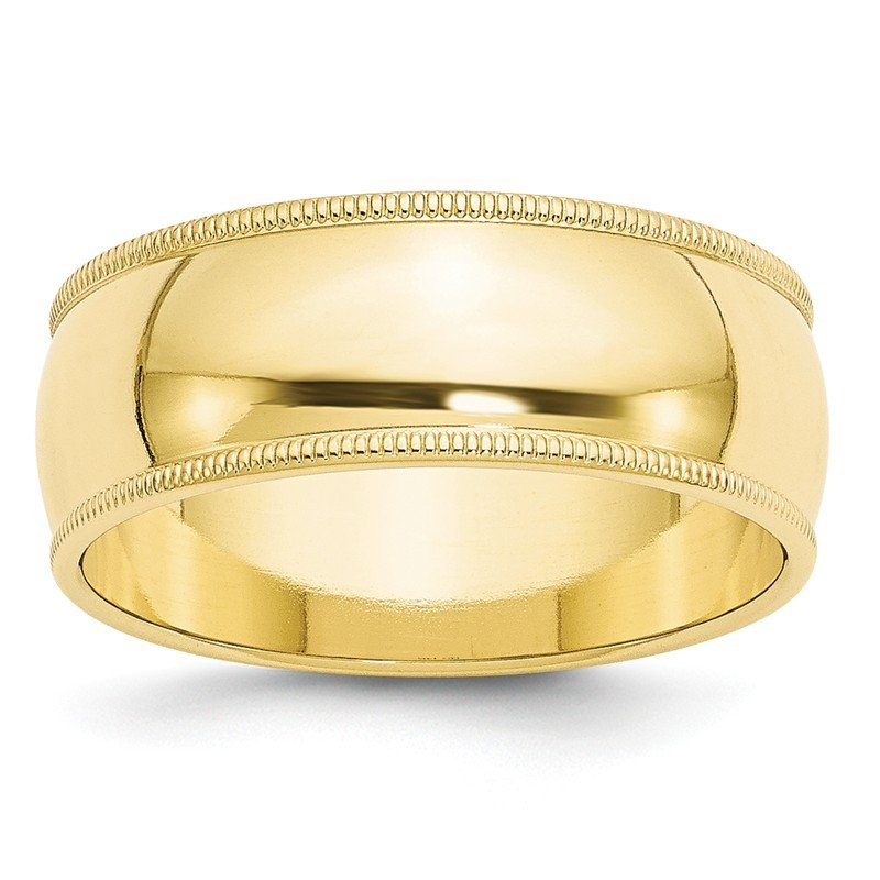 Quality Gold 10KY 8mm Milgrain Half Round Band Size 10