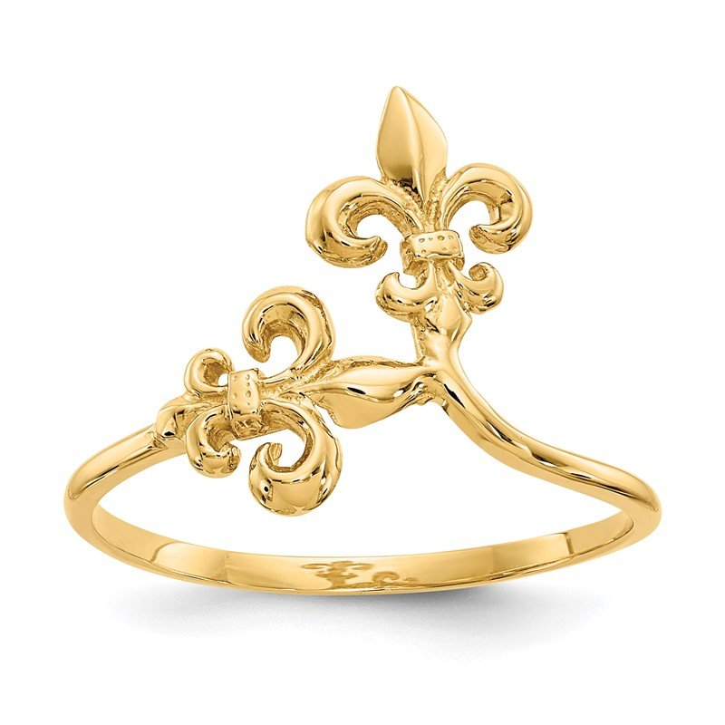 Quality Gold 14k Polished Fleur De Lis Ring