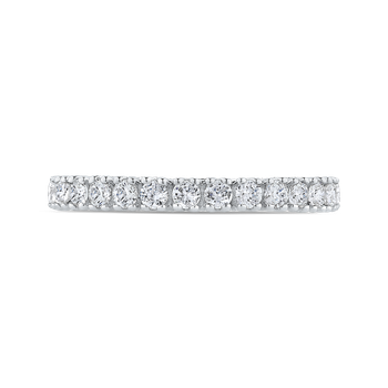 Round Diamond Half-Eternity Wedding Band In 18K White Gold with Euro Shank