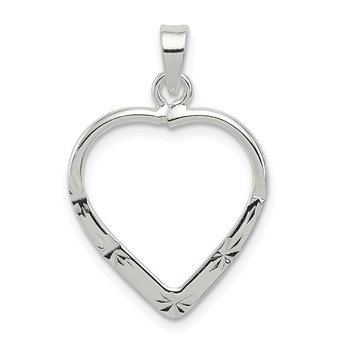 Sterling Silver Polished & D/C Heart Pendant