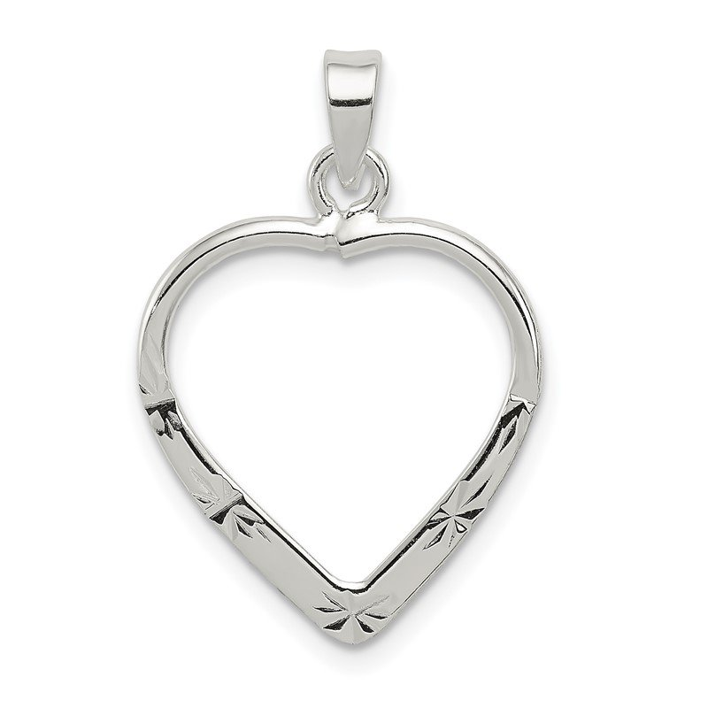 JC Sipe Essentials Sterling Silver Polished & D/C Heart Pendant