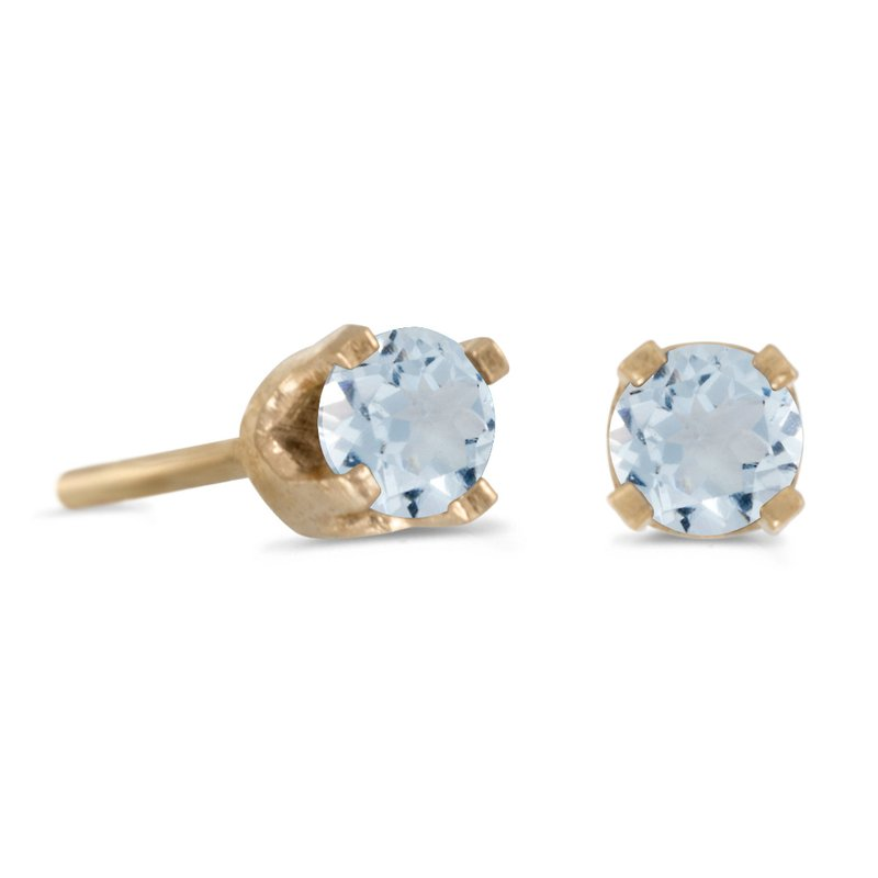 Color Merchants 3 mm Petite Round Genuine Aquamarine Stud Earrings in 14k Yellow Gold