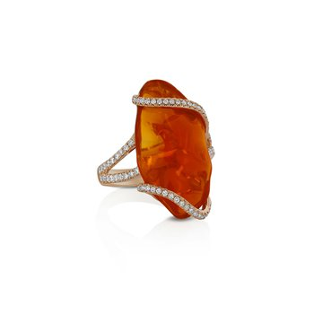 Fire Opal & Diamond Ring 18KR