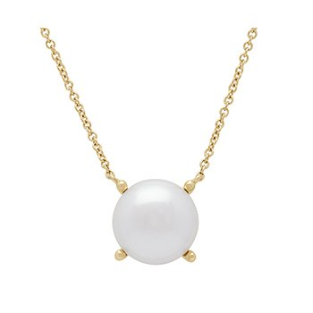 "Honora 14KY 10-10.5mm White Button Freshwater Cultured Pearl 18"" Necklace"