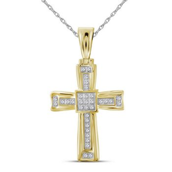 10kt Yellow Gold Mens Round Diamond Cross Religious Charm Pendant 1/10 Cttw