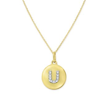 Diamond Uppercase Mini Disc Initial U Necklace