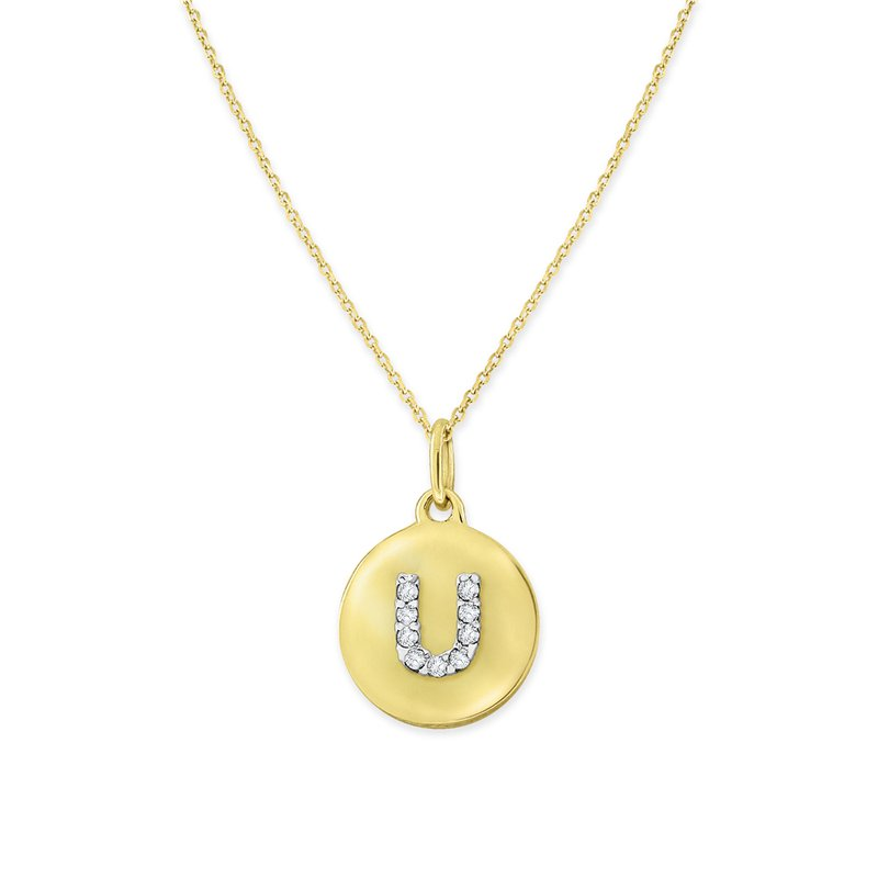 MAZZARESE Fashion Diamond Uppercase Mini Disc Initial U Necklace