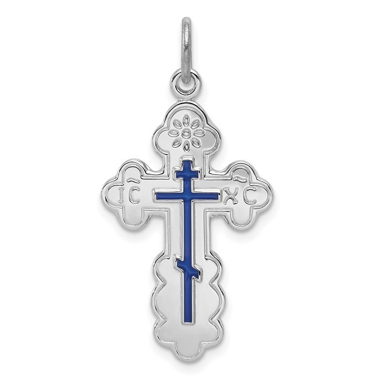 Quality Gold Sterling Silver Rhodium-plated Eastern Orthodox Blue Enamel Cross Pendant