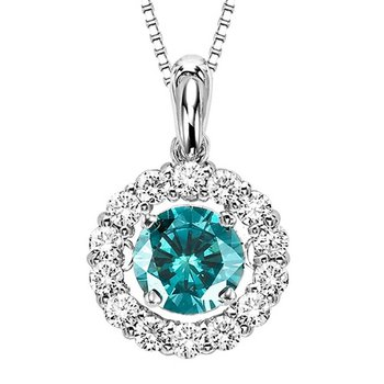 14K Blue & White Diamond Rhythm Of Love Pendant 1 ctw (3/4 Ct Blue Dia Center)