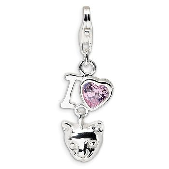 Sterling Silver RH CZ I Love Cats w/Lobster Clasp Charm