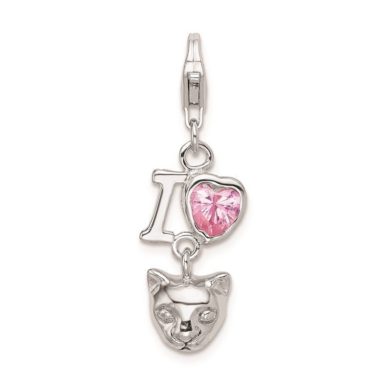 Quality Gold Sterling Silver RH CZ I Love Cats w/Lobster Clasp Charm