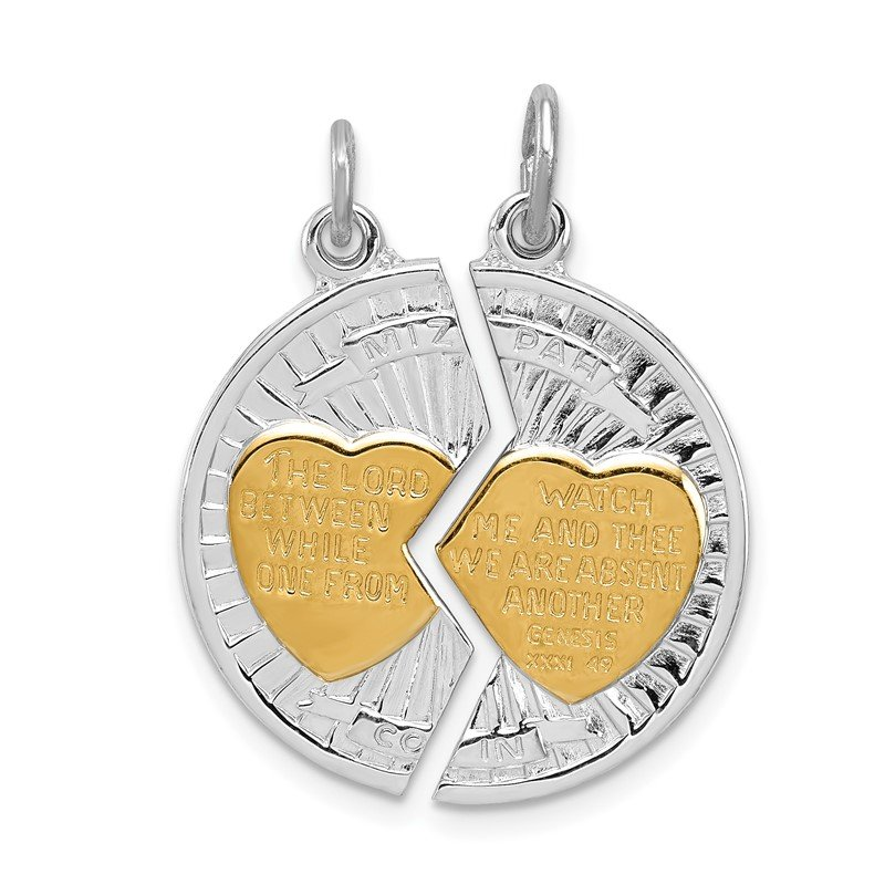 J.F. Kruse Signature Collection Sterling Silver Rhodium-plated & Gold-plated Polished Mizpah 2-piece Pendan