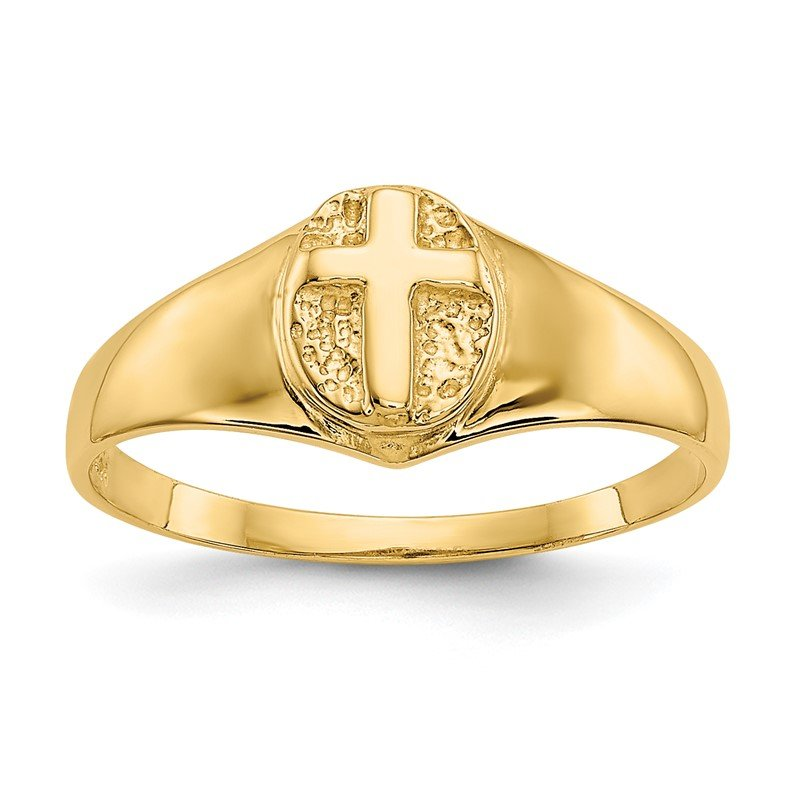 Quality Gold 14k Childs Polished Open Cross Ring