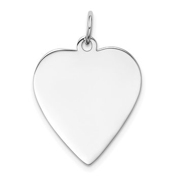14k White Gold Plain .013 Gauge Engravable Heart Charm