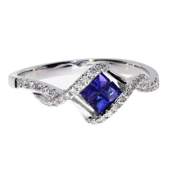 14k White Gold Sapphire Princess Fashion Ring