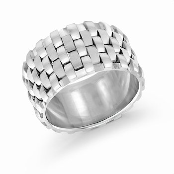 12mm all white gold triple interlock center band