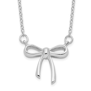 Sterling Silver Rhodium-plated 18in Bow Necklace