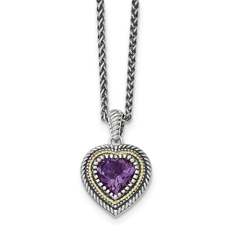 Shey Couture Sterling Silver w/14k Amethyst Heart Necklace