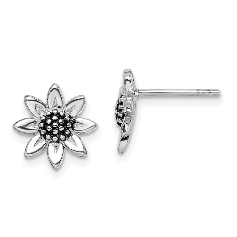 Quality Gold Sterling Silver Rhodium-plated Sunflower Post Earring