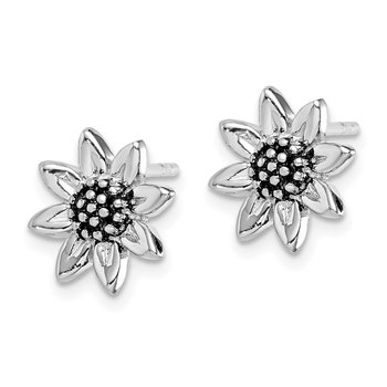 Sterling Silver Rhodium-plated Sunflower Post Earring