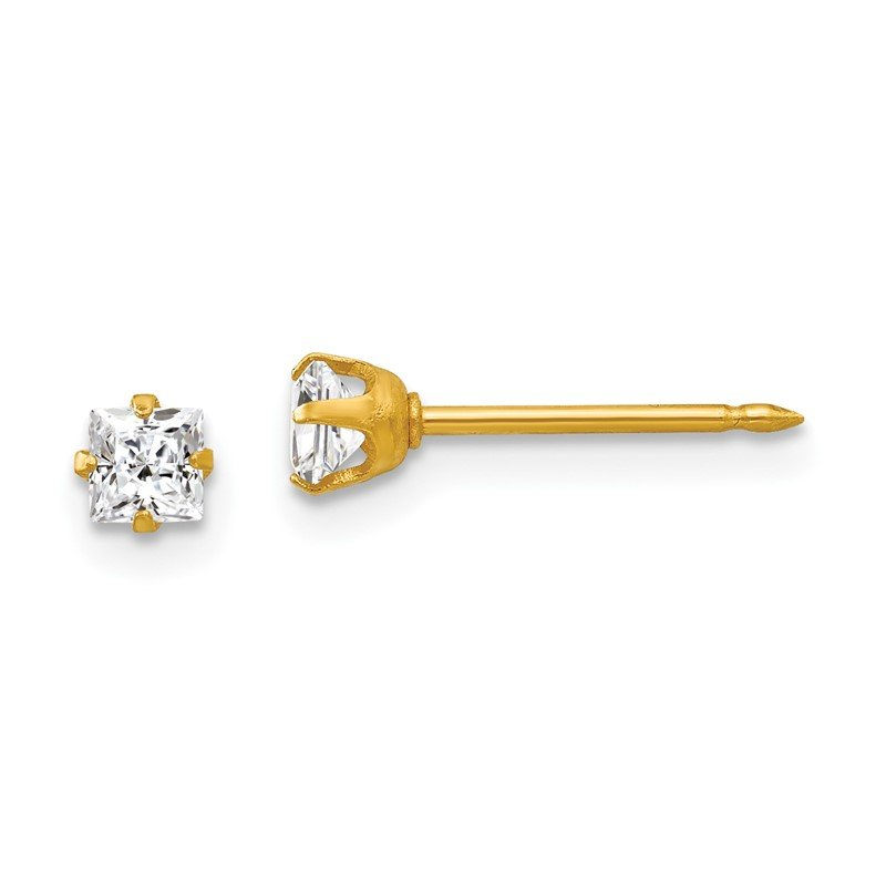 Quality Gold Inverness 18k 3mm Square CZ Earrings