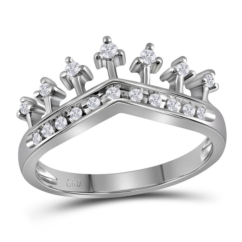 Gold-N-Diamonds, Inc. (Atlanta) 10kt White Gold Womens Round Diamond Crown Tiara Band Ring 1/5 Cttw